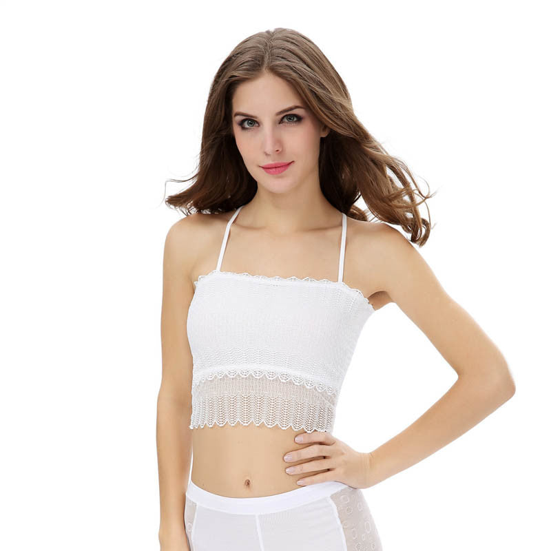 Fashion Women Lace Strap Wrapped Chest Shirt Tank Crop Top White