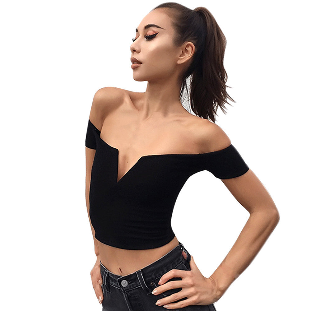 Women Sexy Boat Neck Strapless Shirt Tops Blouse Clothes