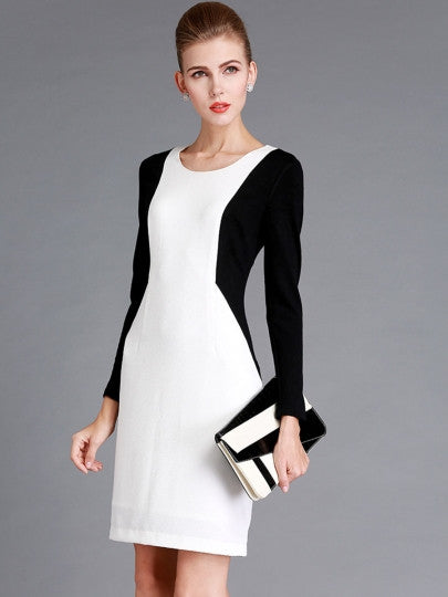 Black and White Round Neck Women's Long Sleeve Dress