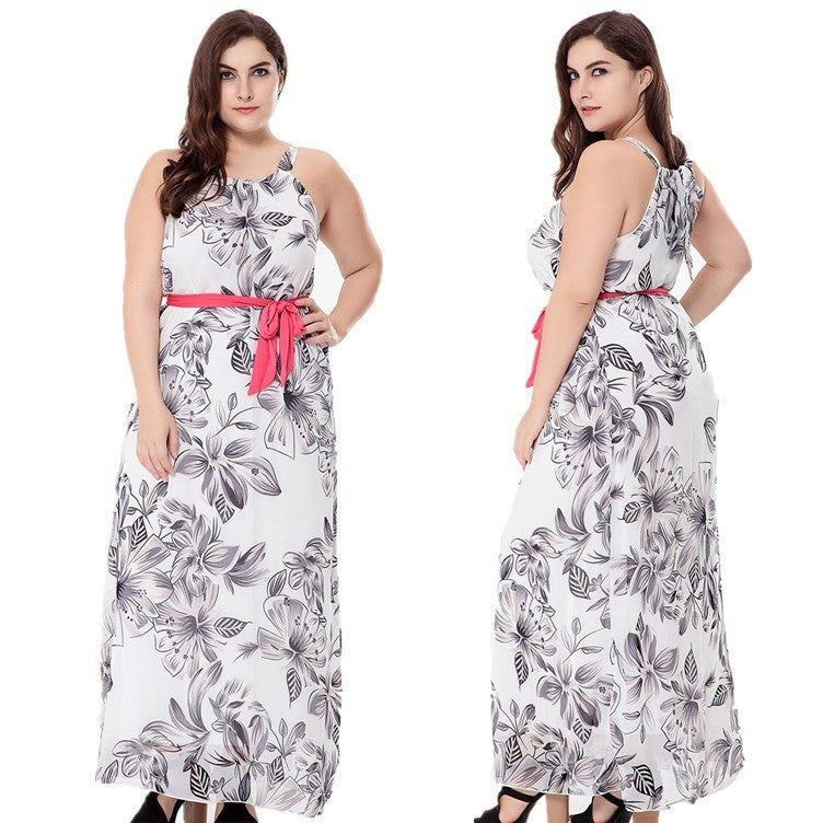 2017 New Women's Floral Print Chiffon Sleeveless Belt Summer Maxi Dress