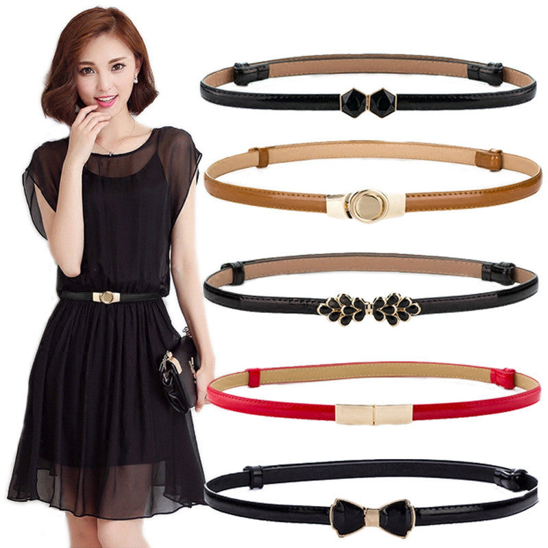 Chic Women's PU Leather Thin Skinny Waist Belt with Bowknot Buckle