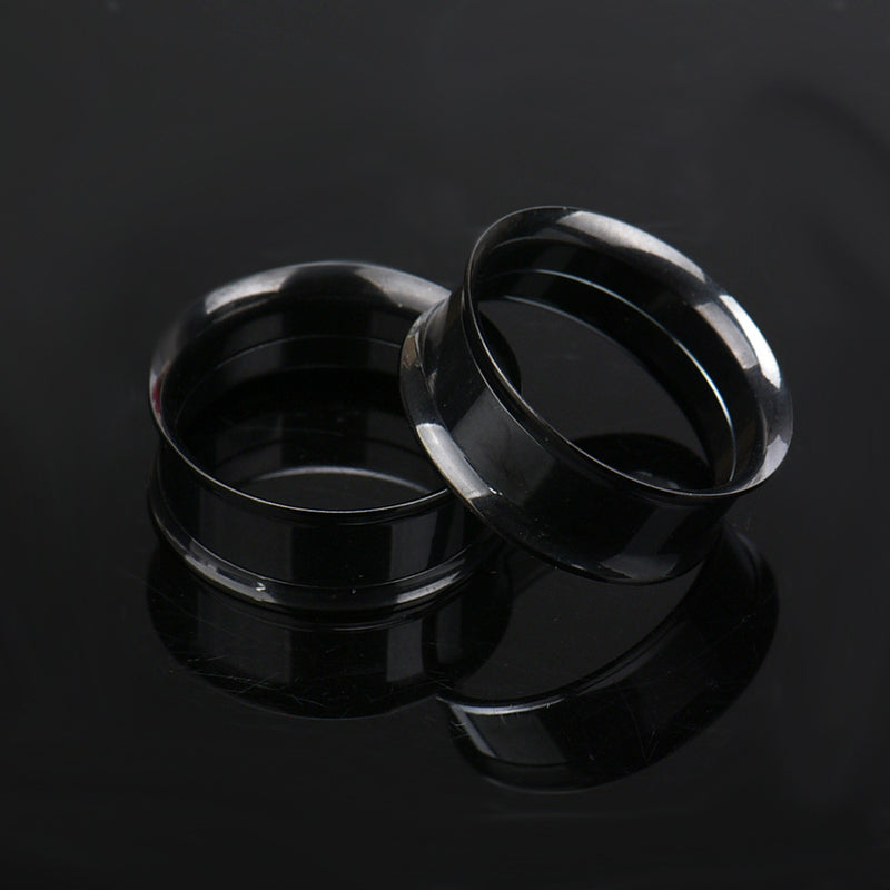 1 Pair Stainless Steel Screw Ear Gauges Flesh Tunnels Plugs Expander Black