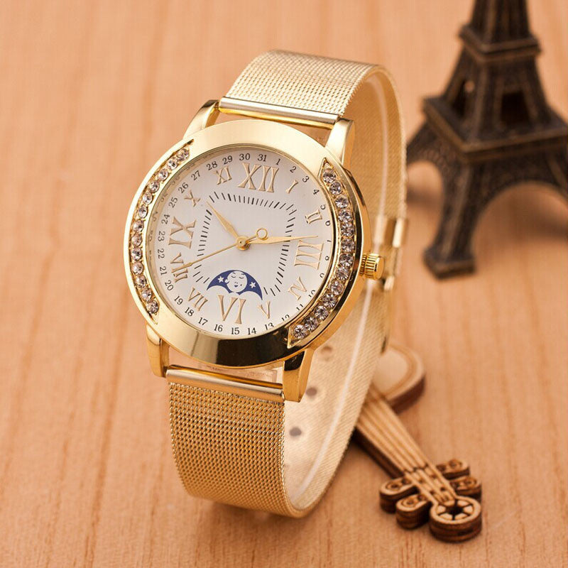 Womens Classic Gold Roman Numerals Quartz Stainless Steel Wrist Watch