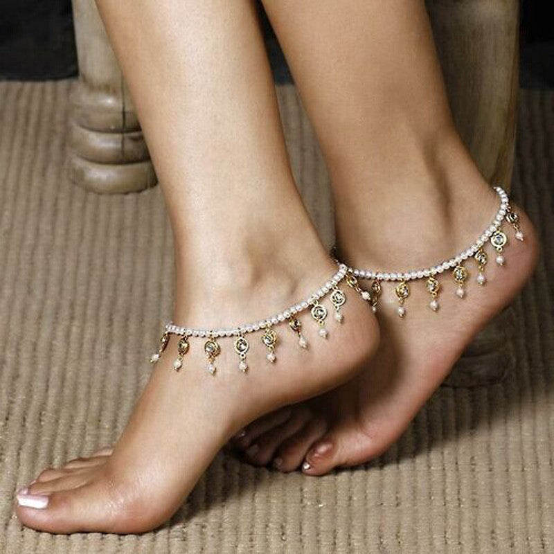 Womens Barefoot Sandal Beach Foot Pearl Bead Jewelry Anklet Chain Tassel