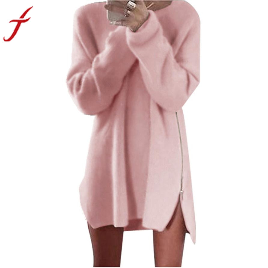 Autumn Winter Women Dress Long Sleeve Side Zip Knitted Cardigans Baggy Tops Sale Sexy Party Bodycon Sweater Dresses