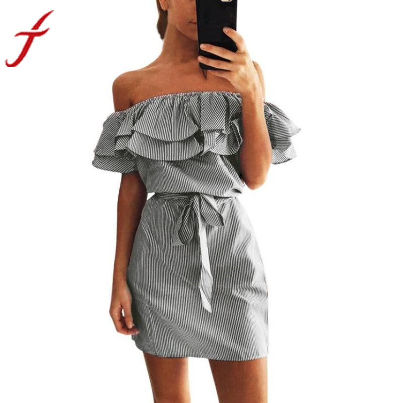 2017 Summer Ruffles slash neck women dress Sexy off shoulder dresses Short Sleeve Striped Mini Dress With Belt vestidos