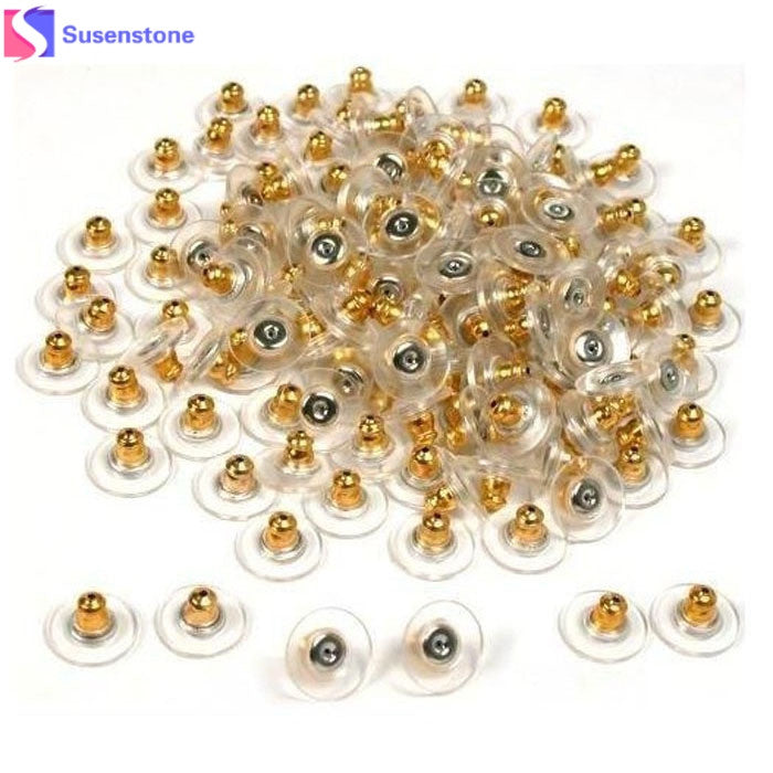 SUSENSTONE Golden ear plug  New Arrival 50pcs Gold Tone Hypo Allergenic Bullet Clutch Earring Backs Plastic With Pad