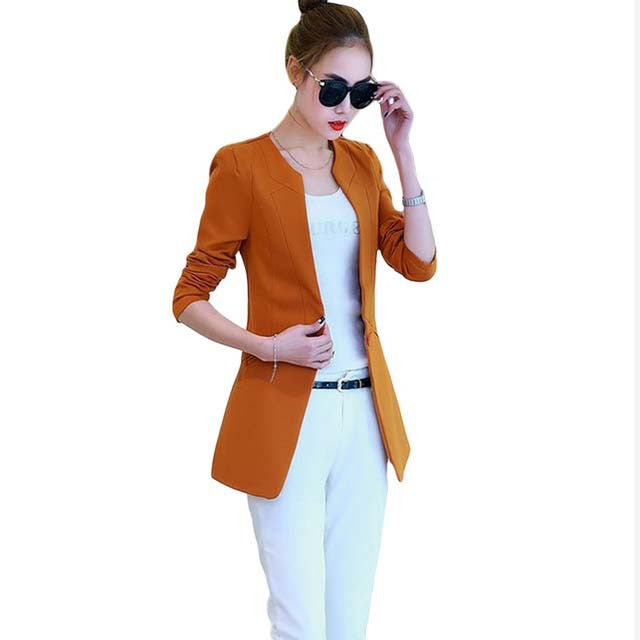 Casual Suit Jacket - One Button Thin Women Blazer