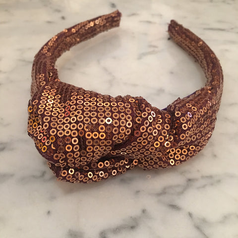 Gold and Cranberry Sequin Turban Headband