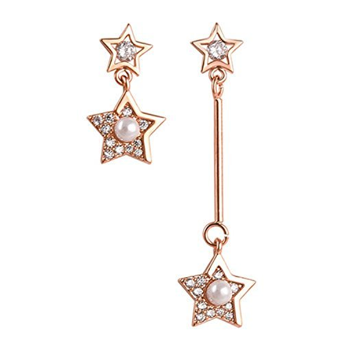 Non-symmetry design Shining Zircon Pearl Stars Dangle Earring