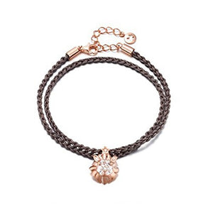 925 Silver Rose Gold Color Zircon Lion Necklace Bracelet