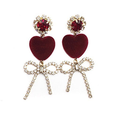 Red Flannel Heart Shape Bobbles Zircon Bowknots Pendants Earring (925 silver stud)