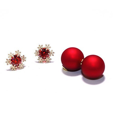 925 Silver Needle Matt Red Pearl Studs