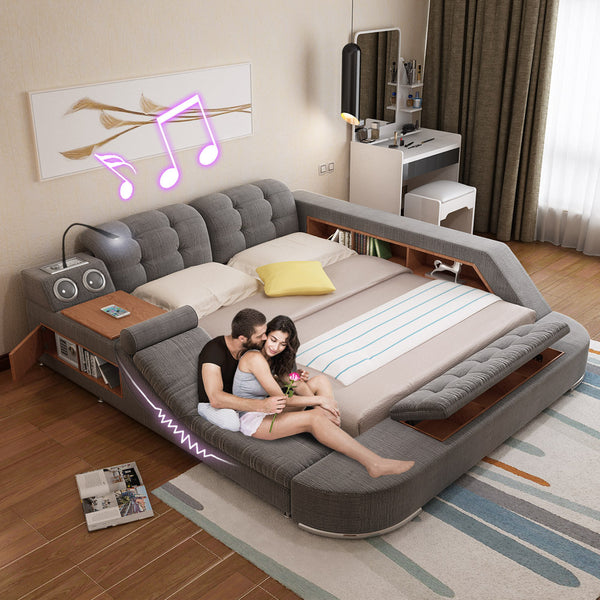 Massage bed tatami bed fabric bed soft bed Double bed 1.8 m multifunction bed wedding bed modern minimalist (without mattress)