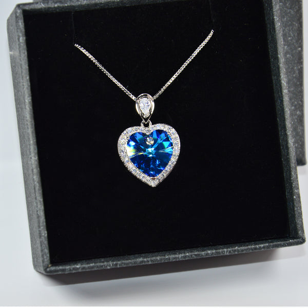 """Heart of The Ocean"" Heart Burmuda Blue Plantium Plated Swarovski Crystal Necklace With Rhinestones For Girl Women Lady As Gift"