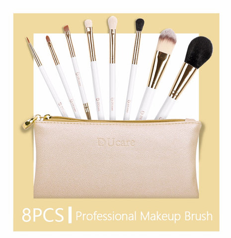 Professional 8pcs Makeup Brush Set With Leather Bag - Heyloveit