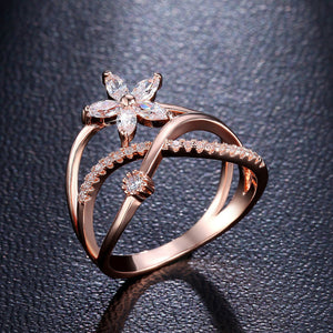Rose gold color flower ring