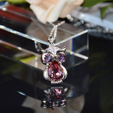 Swarovski Crystal Pink Owl Necklace