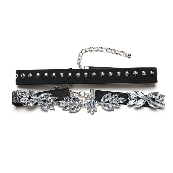 Exquisite Gothic Layered Clear Crystal Stones Rivet Black Choker For Women Lady Girl Choker Necklace