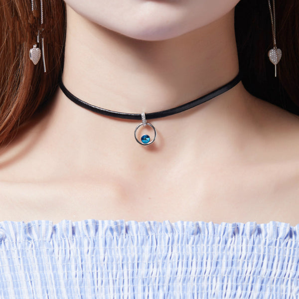 "925 Sterling Silver Swarovski Blue Crystal Silver Black Choker Necklace For Women Lady Girls, (11.8""+2"")"