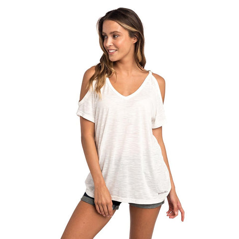 SALTY COLD SHOULDER TEE WHITE
