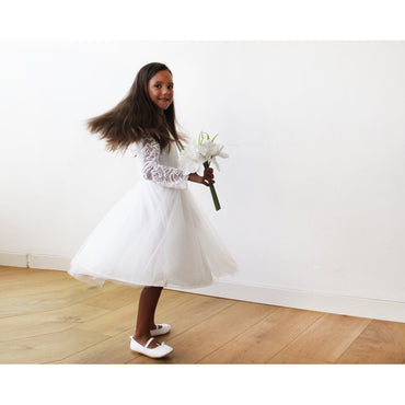 Midi Ivory Tulle Lace Long Sleeves Flower Girls Dress