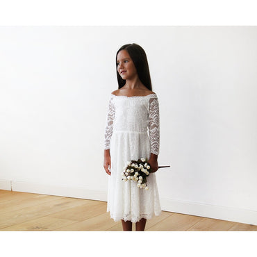 Off Shoulder Ivory Lace Midi Girls Dress