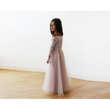 Pink Off Shoulder Lace Tulle Maxi Flower Girls Gown