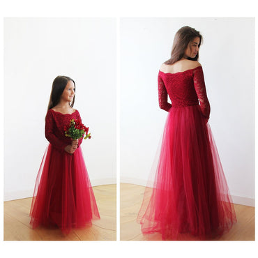 Off Shoulder Burgundy Lace Tulle Flower Girls Gown