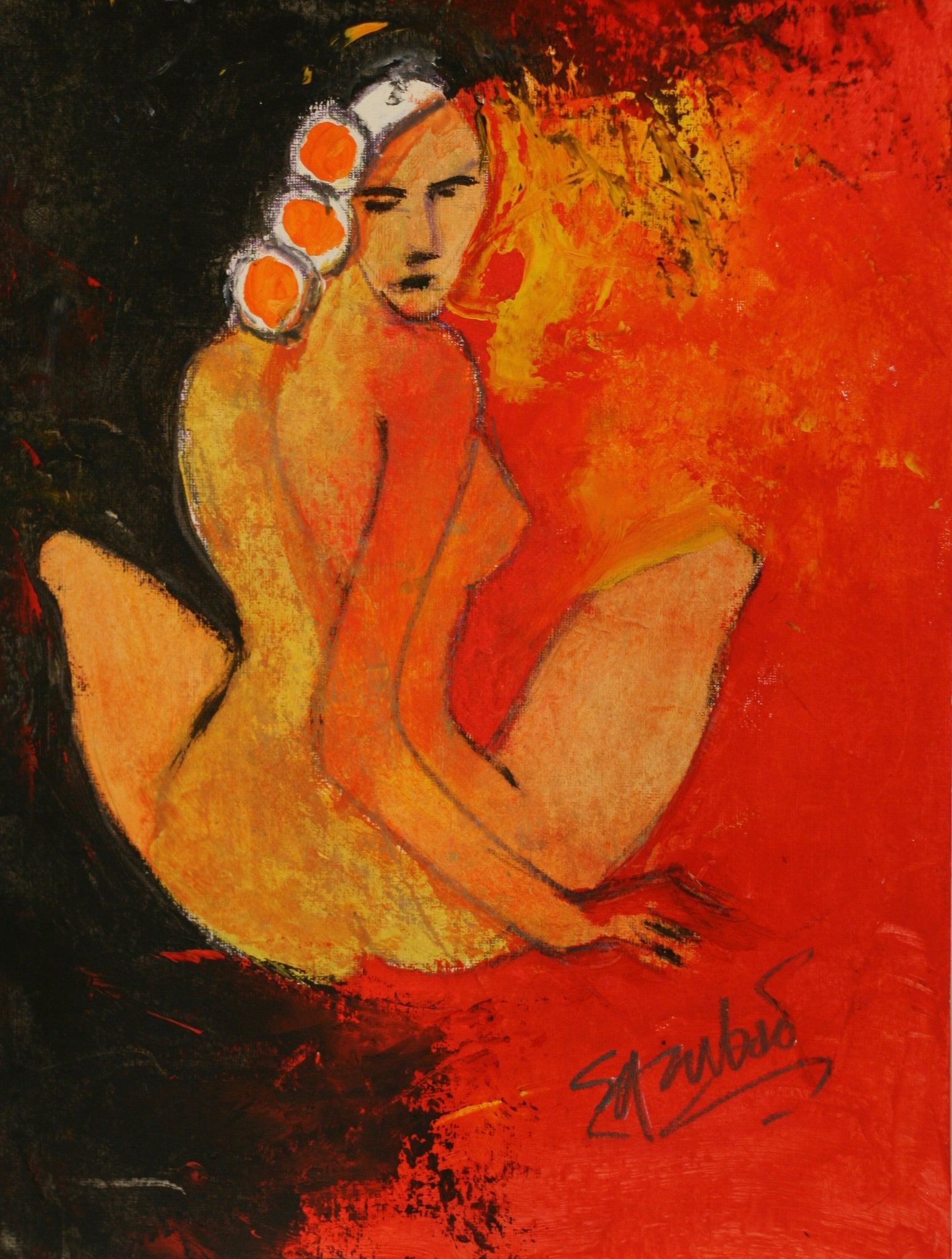 charles sambono - Nude in Red - oil painting