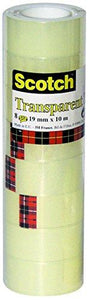 3M Post-it - Nastro Adesivo Scotch Trasparente Acrilico Ufficio 19mmx10m (8 pz) - Wigashop