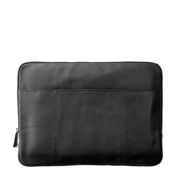 Laptop/Computer Sleeve, Sort læder