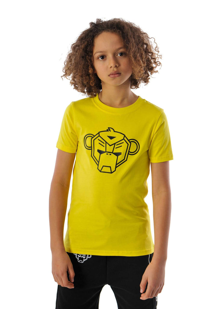 Black Bananas Kids Basic monkey 'GRANDE' T-shirt Geel