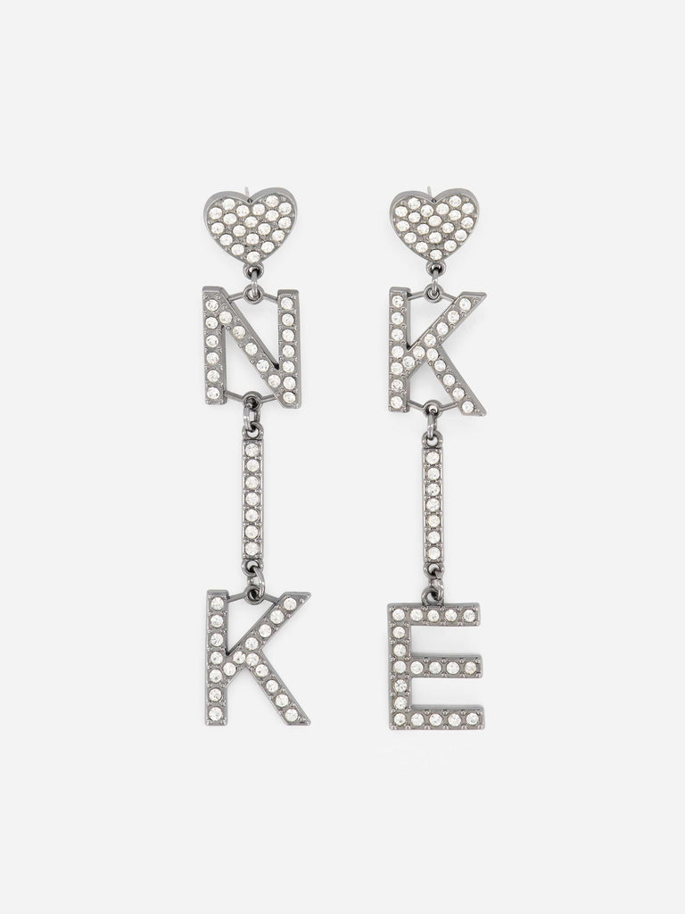 Nikkie Earrings Logo Strass Zilver