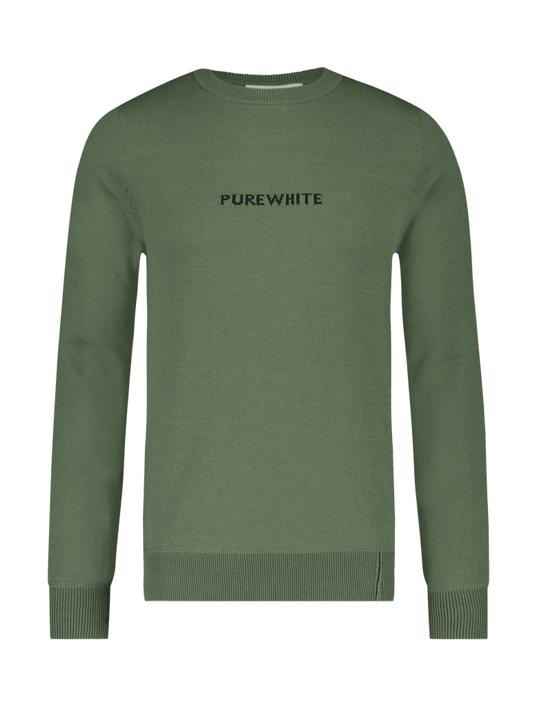 Purewhite Knitted Logo Sweater Groen