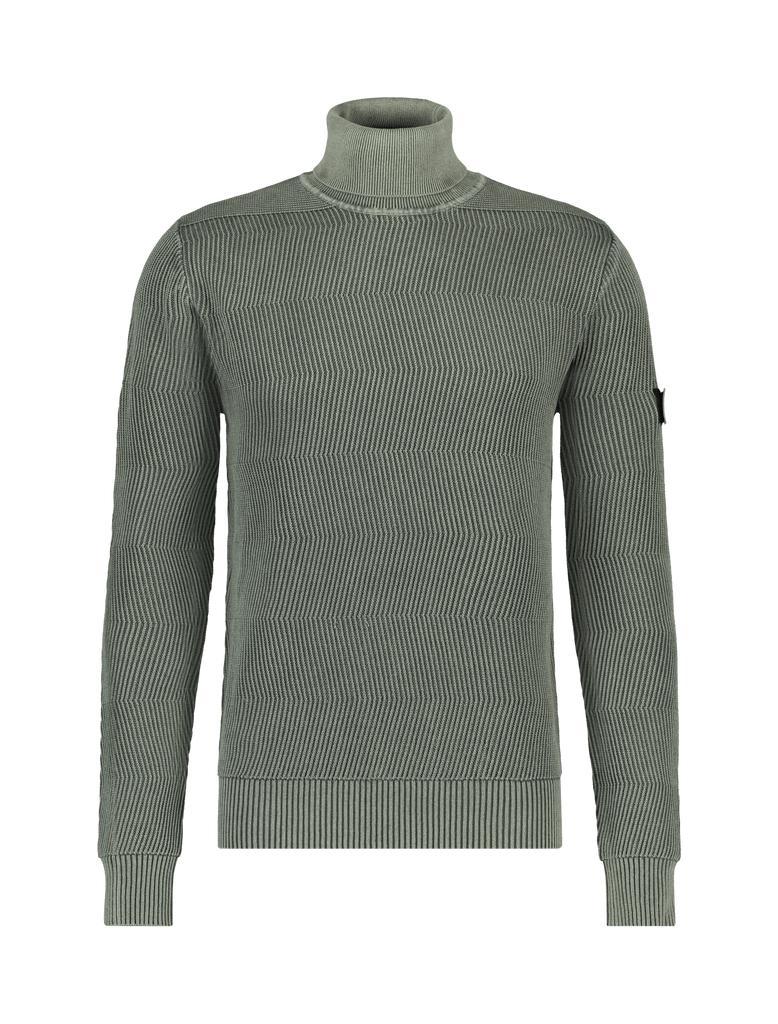 Purewhite Sweater Jacquard Knitted Turtleneck Groen