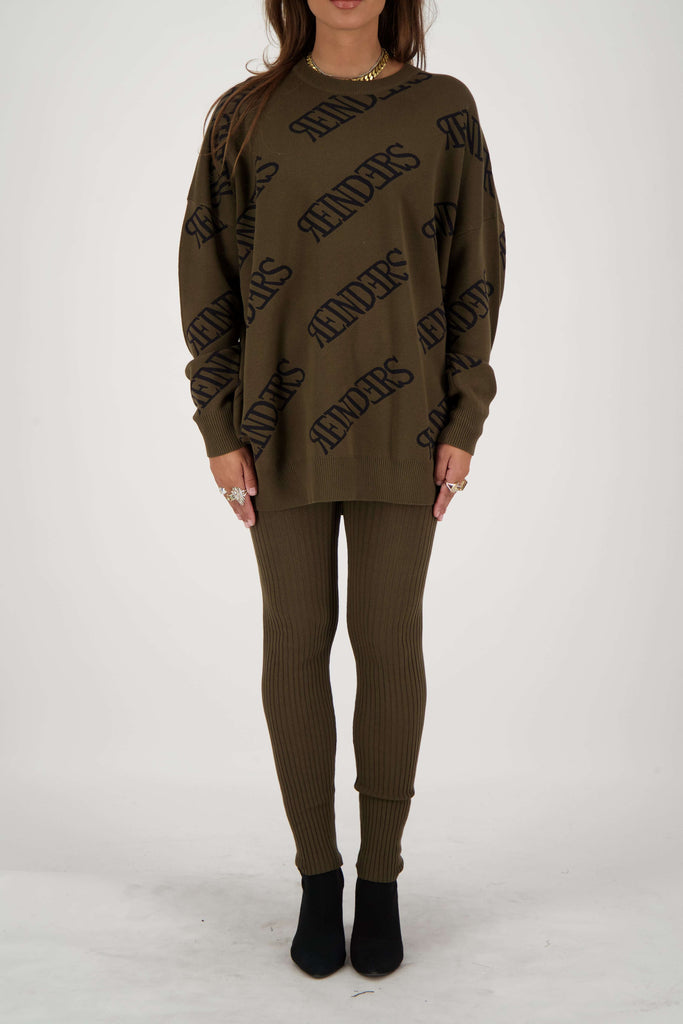 Reinders Sweater Roundneck All Over Groen