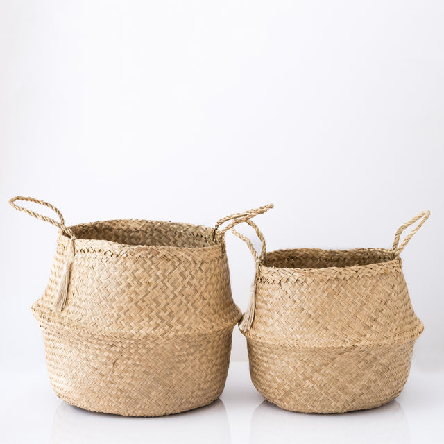 natural seagrass belly baskets