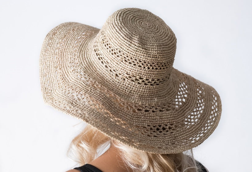 crocheted raffia floppy sun hat