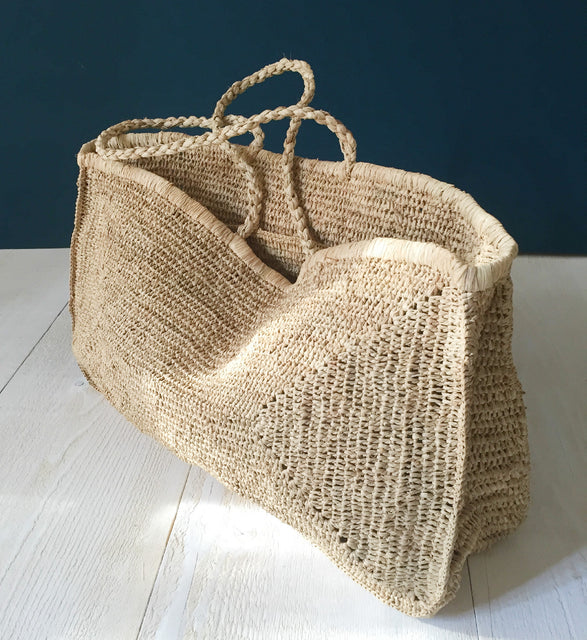 large raffia beach bag