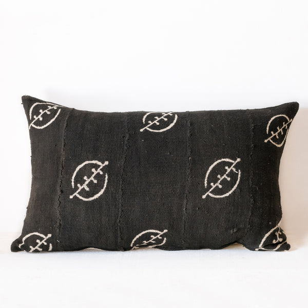 Black Mudcloth Lumbar Cushion No.1 - Tala Collections