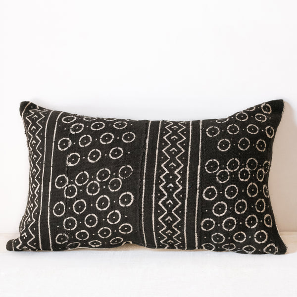 Black Mudcloth Lumbar Cushion No.2 - Tala Collections