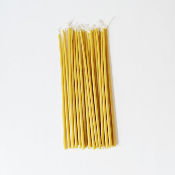 Pure Greek Beeswax Taper Candles - set of 25