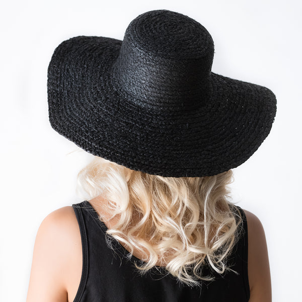 Braided Black Raffia Hat - Tala Collections