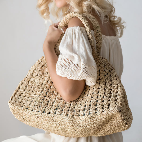 Crocheted Raffia Tote Bag