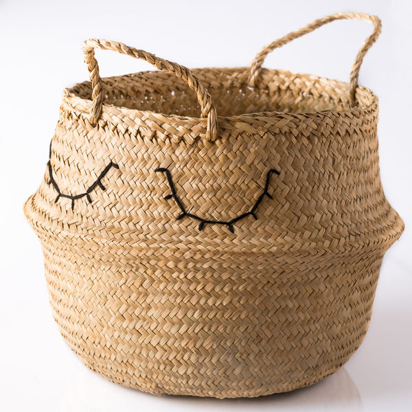 Sleepy Eyes Embroidered Seagrass Belly Basket