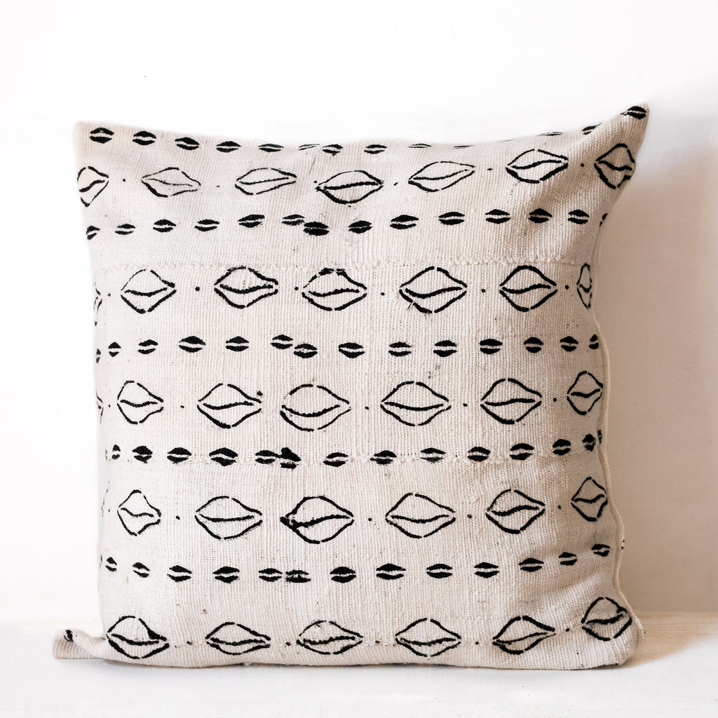 White Mudcloth Cushion No.2 - Tala Collections