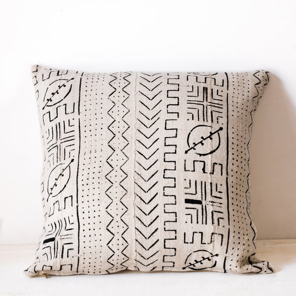 White Mudcloth Cushion No.1 - Tala Collections