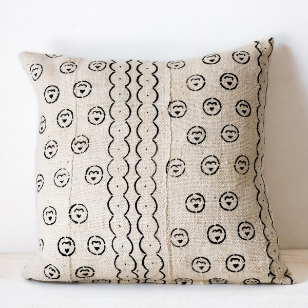 White Mudcloth Cushion No.3 - Tala Collections
