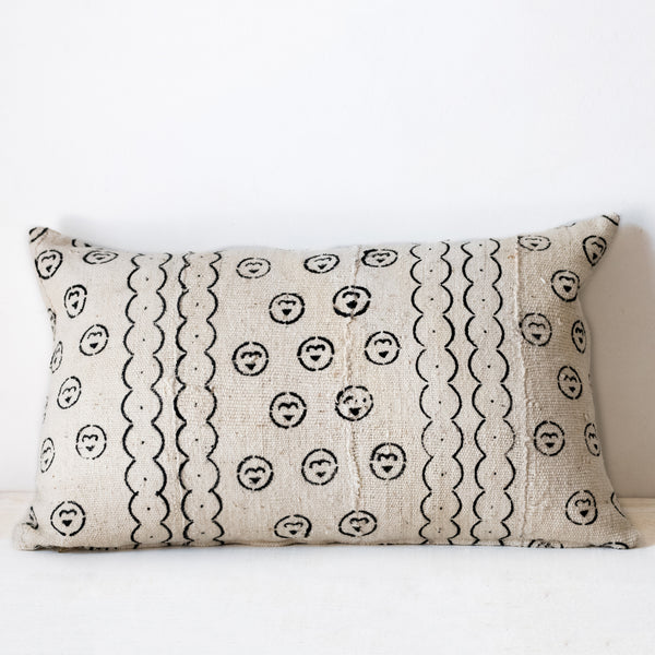 White Mudcloth Lumbar Cushion No.1 - Tala Collections